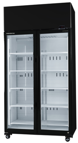 Skope Double Glass Door High Performance Vertical Fridge with  Active core BLACK