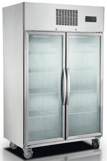 FED Double Glass Door Vertical Fridge in Stainless