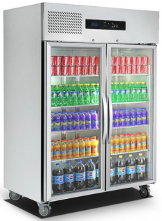 FED Double Glass Door Vertical Fridge 1425mm Wide