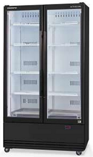 Skope Double Glass Door Fridge Bottom Mounted Unit Black