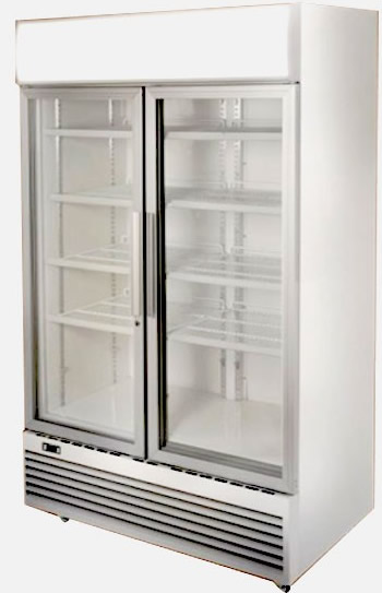 Bromic 2 Glass Door Vertical Fridge with Light Box - White
