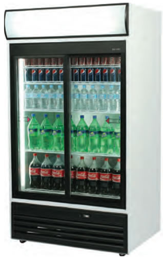 Bromic 1115mm Wide 2 Sliding Glass Door Vertical Fridge