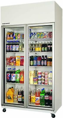 Skope TME1000 2 Glass Door Vertical Fridge