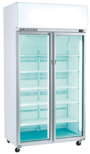 Skope Double Glass Door High Performance Vertical Fridge with  Active core